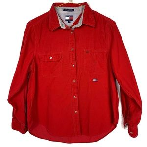 Tommy Hilfiger jean Red button up shirt long